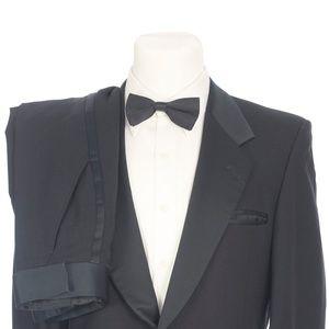Pierre Cardin Solid Black Pure Wool Formal Tuxedo